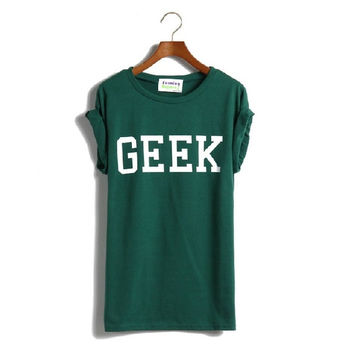 Trend Hem Roll-up Sleeve Of Random Hem Geek Loose Letter T-shirt For Women LSP8023XGJ = 1956738116