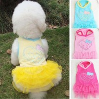 Cute Pet Dog Cat Clothes Puppy Heart Sequins Princess Skirt Dress 5 Sizes #A1332