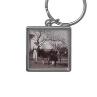 Mama Cow Feed Calf Vintage Silver-Colored Square Keychain