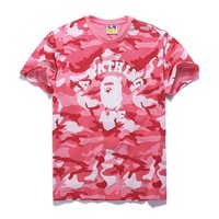 Bape Aape Stylish Camouflage Print Cotton Short Sleeve T-Shirt Top Pink I