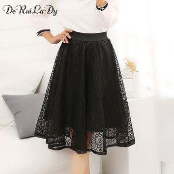DeRuiLaDy 2018 Women Sexy Lace Knee-Length long Skirt 2018 High waist Hollow Out pleated skirts womens Casual Black saia Autumn