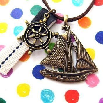 Ship Boat Travel Nautical Sailor Wheel Helm Charm Necklace