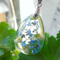 Eco Friendle Resin Drop Pendant With Flowers-Tear Drop Pendant-Summer Gift-Blue Flowers In Resin-Eco Resin Necklace-Crystal Resin Jewelry