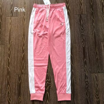 Champion autumn and winter new retro men and women models beam pants casual sports pants pink