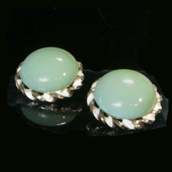 1950s Button Style Earrings, Green Round Clip On