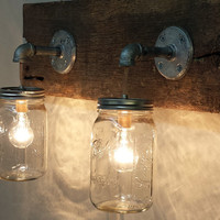 Mason Jar 4 light fixture Rustic Reclaimed Barn Wood Mason Jar Hanging Light Fixture Industrial Made in America Primitive Bathroom Vanity