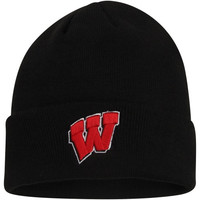 Wisconsin Badgers Top of the World Simple Knit Hat with Cuff – Black