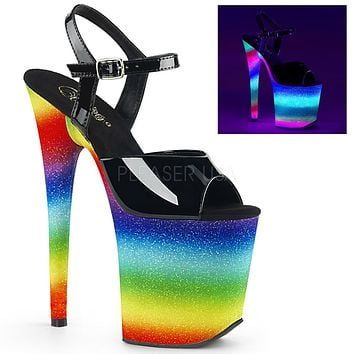 "Flamingo 809WR UV Rainbow Glitter  Ankle Strap Platform Shoe 8"" High Heel Shoes"