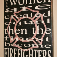 Female Firefighter Wall Art w/ Maltese Silhouette, Firefighter Decor, Distressed Wall Decor, Custom Wood Sign, Firefighter - Pink Maltese