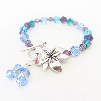 7.25 Inch Silver Flower Bracelet - Purple , Green , Blue Crystal - Toggle Clasp Bracelet - Beaded Pastel Bracelet - Handmade Jewelry