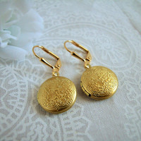 Gold Locket Earrings Leverback Ear wires with Engraved Floral Pattern Matte Gold Finish