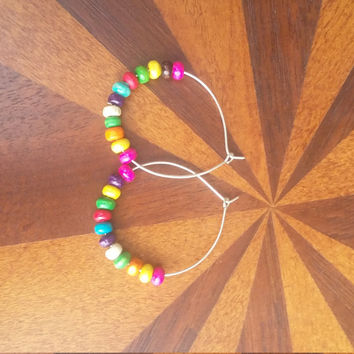 Multicolor wooden bead hoop earrings