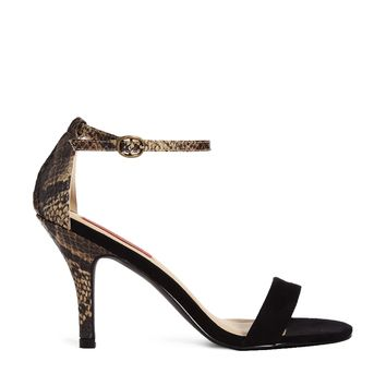 London Rebel Barely There Natural Black Heeled Sandals