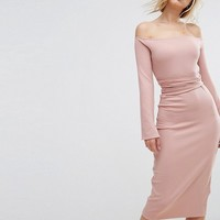Lost Ink Midi Dress With Split Sleeves at asos.com