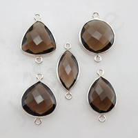 Smoky Quartz 925 Sterling Silver Bezel Station Connector and Charm, 1 piece