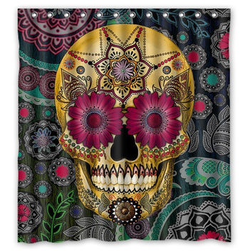 Bathroom Polyester Fabric Bath Curtain Waterproof Printed Pirate And Skull 168x182cm