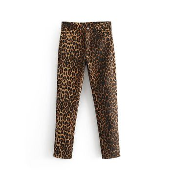 New Jeans Women Leopard Print Pencil Pant Animal Pattern Zipper Fly Vintage Female Casual Ankle Length Denim Trousers Pantalones