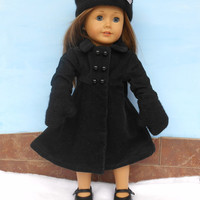 18 Inch Doll Felted Wool Hat and Mittens, Black Russian Style Hat, Upcycled, fits American Girl Dolls, Winter Doll Clothes, Upcycled