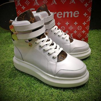 Sale Supreme x Louis Vuitton x ALEXANDER MCQUEEN High Sneaker Luxury High top White Brown Shoes