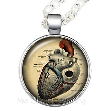 Human Anatomy Necklace Different Styles  & Colors (Heart, Brain, Lungs,...)