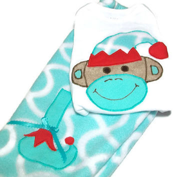 Christmas Baby Clothes - Elf Sock Monkey - Baby Christmas Outfit -Baby Holiday Wear