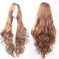 Womens/Ladies 80cm Light brown Color Long STRAIGHT Cosplay/Costume/Anime/Party/Bangs Full Sexy Wig Light Brown