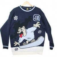 Bulldog on a Snowboard Tacky Ugly Sweater Men's Size XL $18 - The Ugly Sweater Shop
