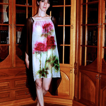 Silk caftan tunic. Hand-Painted Original Dress Blouse Kaftan. Chiffon Resort Wear Cover-Up. Red Roses Green Brown White. Free Size. Ready