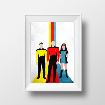 Star Trek Poster, The Next Generation, Picard, Troi, Data, Ribbons, Retro Minimalist Poster