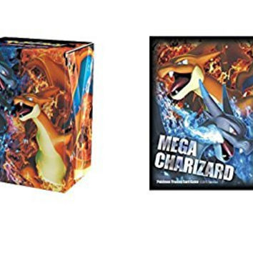 (65) MEGA CHARIZARD X & Y Pokemon TCG Deck Protector CARD SLEEVES + DECK BOX Combo