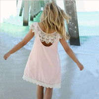 Solid color round neck lace backless dress