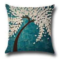 Contrast Color Oil Plainting Minimalist Pillowcase Cover