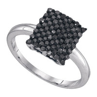Black Diamond Fashion Ring in 10k White Gold 0.5 ctw