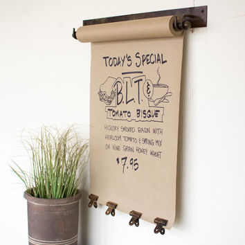 Hanging Note Roll with 4 Clips in Antique Brass