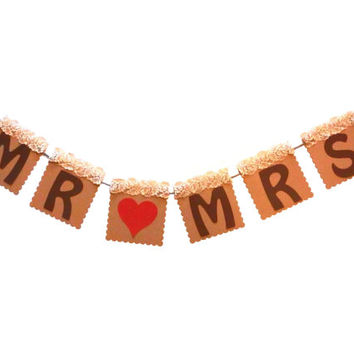 Mr and Mrs banner Wedding Mr & Mrs banner Rustict Mr and Mrs banner Lace Mr banner Wedding decoration