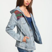 Tribal Embroidered Hooded Denim Jacket
