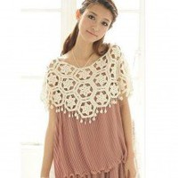 Novel Hollowed Flowers Crochet Tassels Knitted Cape Tops 2 Colors