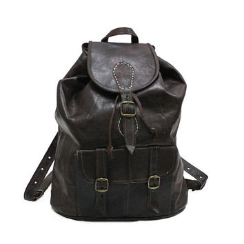 "SALE!! 16"" Leather Backpack for women Dark Brown Leather Rucksack Womens Laptop Backpack Man Unisex Style Vintage Woman Backpack Mens"