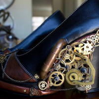 Steampunk Gears and Pipes heels with LED by HotAirBallonRide