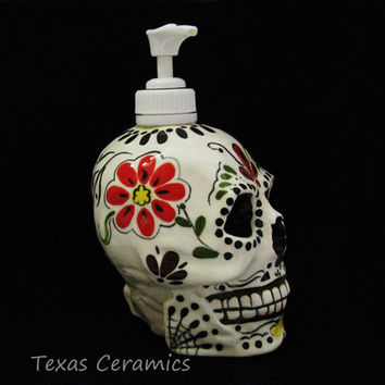 Day of the Dead Skull Pump Dispenser for Lotion by TexasCeramics