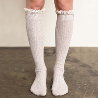 Rosewood Lace Socks in Taupe