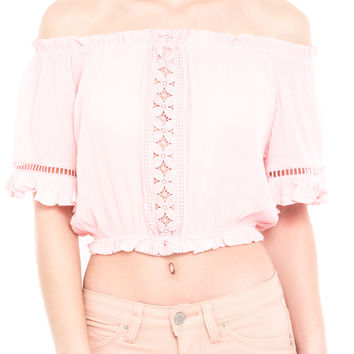 3/4 SLEEVE OFF THE SHOULDER TOP WITH CROCHET DETAIL
