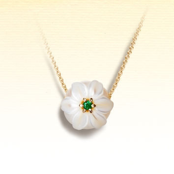 "Galatea: May Pearl Flower - 10mm Pearl Pendant carved into the shape of a Lily with a gleaming 2mm Emerald center. Set in 14K Gold. From the ""Pearl Flowers"" collection."