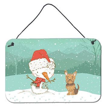 Yorkie Cropped Ears Snowman Christmas Wall or Door Hanging Prints CK2098DS812