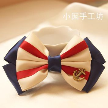 princess sweet lolita hair bow Handmade bow hair accessory hairpin accessories navy style ribbon a0039