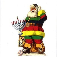 Santa holiday cards set of 4 world religions vintage christmas kwanzaa hanukkah