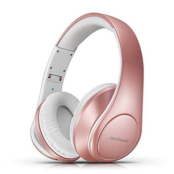 Jpodream Bluetooth Headphones Over Ear, Wireless Stereo Deep Bass Headset with Microphone, Foldable, Lightweight and Wired Mode for PC, Cellphone, TV and Traveling - Rose Gold [New Upgrade]