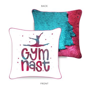 Gymnast Mermaid Pillow with Burgundy & Teal Reversible Flip Sequins | COVER ONLY (Inserts Sold Separately)