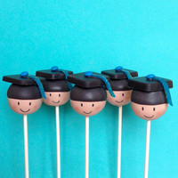 12 Graduation Cap Cake Pops - custom tassel colors, for high school, college, preschool, kindergarten grad, party favor, centerpiece display