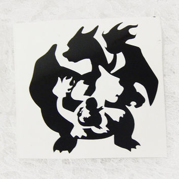 4x4 Inch Large Pokemon Charmander Evolution Charzard Graphic Permanent Vinyl Decal/Bumper Sticker